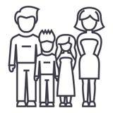 Familj fader, moder, son, dottervektorlinje symbol, tecken, illustration på bakgrund, redigerbara slaglängder Royaltyfri Foto