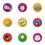 Familj familjtraditioner, rekreation Maka- och frustående Familjferiesymbol i uppsättningsamling på plant stilvektorsymbol royaltyfri illustrationer