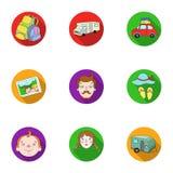 Familj familjtraditioner, rekreation Maka- och frustående Familjferiesymbol i uppsättningsamling på plant stilvektorsymbol vektor illustrationer