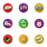 Familj familjtraditioner, rekreation Maka- och frustående Familjferiesymbol i uppsättningsamling på plant stilvektorsymbol stock illustrationer
