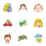 Familj familjtraditioner, rekreation Maka- och frustående Familjferiesymbol i uppsättningsamling på symbol för tecknad filmstilve royaltyfri illustrationer