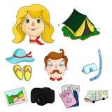 Familj familjtraditioner, rekreation Maka- och frustående Familjferiesymbol i uppsättningsamling på symbol för tecknad filmstilve vektor illustrationer
