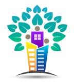 Familj, hem, liv och fastighet och design för byggnadsträdlogo med hjärta formade sidor Royaltyfri Foto