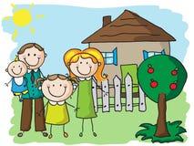 Familj hemma Fotografering för Bildbyråer
