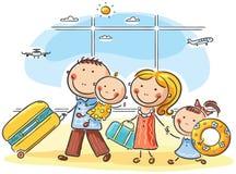Familj i flygplatsen Fotografering för Bildbyråer