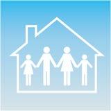 Familj i hus. Pictogram. Ställ in rengöringsduksymbolen Royaltyfri Fotografi