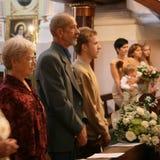 Familj i kristendomenkyrka Royaltyfria Foton