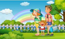 Familj i parkera på regnbågedag stock illustrationer
