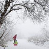 Familj i snöfält Arkivfoto