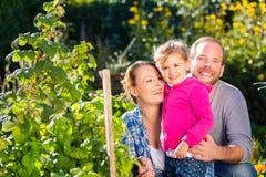 Familj i trädgård Royaltyfri Bild