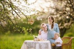 Familj i trädgården Arkivbilder