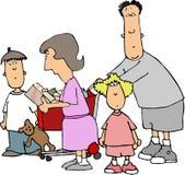 familj ii som shoppar royaltyfri illustrationer