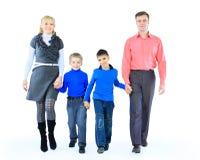 familj isolerad white Royaltyfri Bild