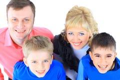 familj isolerad white Arkivfoto