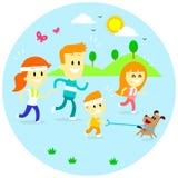 Familj jogga Tid Fotografering för Bildbyråer