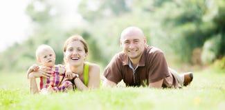 familj lyckliga tre Royaltyfria Bilder