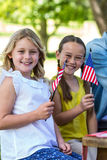 Familj med amerikanska flaggan som har en picknick Royaltyfri Bild