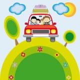Familj med bilen Royaltyfria Bilder