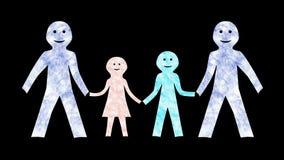 Familj med Farsa-Animera-genomskinliga 2 lager videofilmer