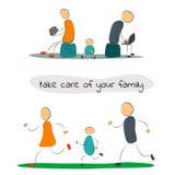 Familj med grejer och sporten Stock Illustrationer