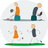 Familj med grejer och spring Stock Illustrationer