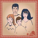 Familj med illustrationen för två barn Arkivfoto