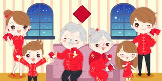Familj med kinesiskt nytt år royaltyfri illustrationer