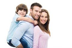Familj med sonen Royaltyfri Fotografi