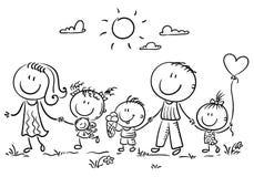 Familj med tre barn som utomhus går, översikt vektor illustrationer