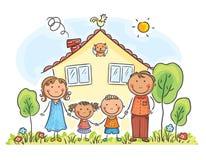 Familj med två barn nära deras hus, tecknad filmdiagram royaltyfri illustrationer