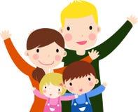 Familj med två ungar stock illustrationer