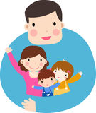 Familj med två ungar Royaltyfria Foton
