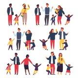 Familj med ungar Upptagna och trötta föräldrar med stygga barn också vektor för coreldrawillustration vektor illustrationer