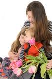 Familj: moder, dotter och son royaltyfria foton