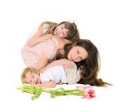 Familj: moder, dotter och son Arkivbilder