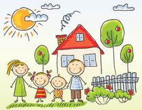 Familj nära deras hus royaltyfri illustrationer