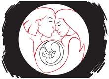 Familj och gravid kvinna Royaltyfri Foto