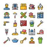 Familj och hem- plana symboler royaltyfri illustrationer