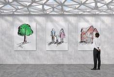 Familj och hus royaltyfri illustrationer