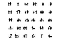 Familj- och människavektorsymboler 1 stock illustrationer