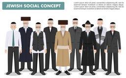 Familj- och samkvämbegrepp Höga judiska män för grupp som tillsammans står i olik traditionell kläder i plan stil gammalt royaltyfri illustrationer