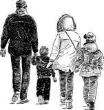 Familj på en gå Arkivfoton