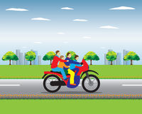 Familj på en Motorbike Royaltyfria Foton