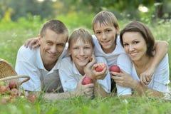 Familj på en picknick Arkivfoton