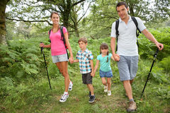 Familj på en trekking dag i skog Royaltyfri Fotografi
