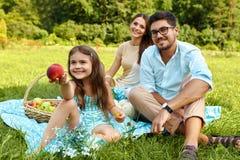 Familj på picknick Lycklig ung familj som har gyckel i natur Royaltyfri Fotografi