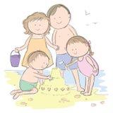 Familj på stranden stock illustrationer