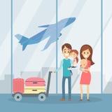 Familj på terminalen vektor illustrationer