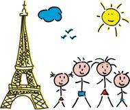 Familj Paris Eiffel Arkivbild