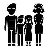 Familj - 4 personer - fader, moder, son, dottersymbol, vektorillustration Royaltyfri Fotografi